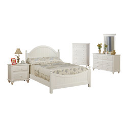 Adarn Inc. - Wooden Youth Bedroom Set, White Panel Headboard, Twin Size, 5 Pc Bedroom Set - An exquisite design of bedroom furnishings for a young girls dream, This collection includes a twin or full sized bed, night stand, dresser with a mirror, and a chest, all dipped in lovely cottage white. The bed frame is designed in a picket fence style with an arch framing the headboard.  Each storage unit features a slight crinkle pattern on the edge of each door with matching round knob. This can appeal to the girl who desires a magical room design of her very own.