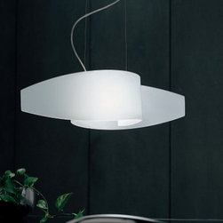 """Sillux - Sillux Detroit pendant light Sp 7/218, 8/218 - The Detroit pendant light has been designed by Sergio Sartorello for Sillux. The Detroit series comes with a satin glass lampshade and the frame is nickel matt. The Detroit collection's design, truly makes it one of the sleek series ever assembled.  Max. extension 47 1/4"""" (120 cm).  Product description:  The Detroit pendant light has been designed by Sergio Sartorello for Sillux. The Detroit series comes with a satin glass lampshade and the frame is nickel matt. The Detroit collection's design, truly makes it one of the sleek series ever assembled. Optional glass bulb diffuser plate is also available.  Max. extension 47 1/4"""" (120 cm).  Details:                         Manufacturer:             Sillux                            Design:                         Sergio Santorello                                         Made in:            Italy                            Dimensions:                         small: Height: 9 7/8"""" (25 cm) X Length: 23 5/8"""" (60 cm)             large: Height: 13 3/4"""" (35 cm) X Length: 35 1/2"""" (90 cm)                                         Light bulb:             small: 1 x 100W R7s halogen             large: 2 x 100 W incandescent                            Material             metal, glass"""