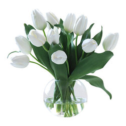"Jane Seymour Botanicals - Tulip Bubble Bowl, White - Freshness personified! A bunch of bright white tulips in a clear glass vase brings that springtime feeling to your home. The best part? These remarkably realistic ""forever flowers"" will never lose a single petal."