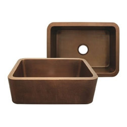 Whitehaus Collection - Hammered Bronze Whitehaus WH2519COFC Smooth Copper Front Apron Single Bowl Kitch - Get the highest value for your money with the Whitehaus brand smooth copper kitchen sink. This piece from the Copperhaus collection offers probably one of the purest copper available in the market. Each item is hand-made by skilled craftsmen, making your kitchen sink of high quality and truly one of a kind.