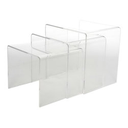 Baxton Studio - Baxton Studio Acrylic Nesting Table 3-Piece Table Set Display Stands - If only your view of the ocean was as unobstructed as the view these tables provide. Made from high-quality acrylic, this set of three nesting tables add a modern touch to your decor. Use them separately as needed or stack them together for a textural approach, either way they allow the true essence of your decor to shine through.