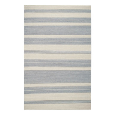 """Puhalo Stripe rug in Oslo Gray - """"My great grandmother from Croatia was a weaver and a seamstress.  This rug was inspired from a beautifully simple tablecloth she had made as a teenager in the early 1900's.""""  Genevieve Gorder"""