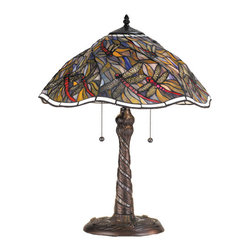 "Meyda - 23.5""H Spiral Dragonfly W/ Twisted Fly Mosaic Base Table Lamp - A crisp linen white glass with tiny metal beadsborder this enchanting tiffany inspired stained glassshade. Scarlet bodied dragonflies with filigree wingsswirl playfully against a dusk colored sky. The lampbase, with mosaic glass inlay, continues to swirl downto the trio of cast dragonflies at its foot. Bulb type: med bulb quantity: 2 bulb wattage: 60"