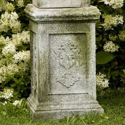 OrlandiStatuary - Grif Pedestal - Features: -Material: Fiber stone.-Mixture of stone cast directly into the surface, then reinforced with a fiberglass backing.-Carefully stained to give the appearance of age.-Lightweight, extremely durable, less fragile than concrete.-Handmade and outdoor safe.-Made in USA.-Seams from manufacturing may be minimally visible..-Can support up to 200 lbs.-Distressed: Yes.-Country of Manufacture: United States.Dimensions: -Dimensions: 26'' H x 16'' W x 16'' D.-Overall Product Weight: 20 lbs.