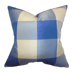 The Pillow Collection - Keats Plaid Pillow, Blue - Capture a classic and sleek look to your interior with this decor pillow. Featuring a plaid pattern in shades of blue and white, this square pillow can easily dress up your sofa, bed or seat. Add in solids and other patterns from our pillow collection for a contemporary twist in your living space. Constructed with 100% fine quality silk material and 100% US-made. Hidden zipper closure for easy cover removal.  Knife edge finish on all four sides.  Reversible pillow with the same fabric on the back side.  Spot cleaning suggested.