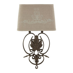 Kathy Kuo Home - Pair Wrought Iron French Country Linen Scroll Leaf Wall Sconces - A wrought Iron sconce with leaf details is hard wired with two shade options. As part of our seasonal shade program, one dark Linen shade and one dark Linen Printed shade come with this sconce. This sconce is hand painted and slightly chipped in the finish process to make them look old. Shades are all Euro style. Price marked is for a pair.