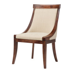 Four Hands - Plush Dining Chair with Leather and Fabric - This side dining chair has a modern feel thanks to its shape and simple lines.The frame is solid birch wood with exposed legs and trim. Padded and upholstered for contrast as well as comfort with Pirelli webbing and foam padding to create the seat support. From the straight line across the back, the sides slope down to the padded seat that also has a straight line across the front. Tapered legs complete the contemporary style like a period at the end of a sentence.