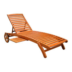 International Caravan - International Caravan Royal Tahiti Yellow Balau Wood Chaise Lounge with Wheels - This lounger has a built-in table for my afternoon cocktails!