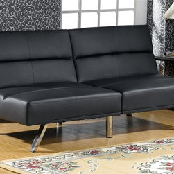 Asia Direct Home - Adjustable Sofa Bed in Black - Two divided back. Both sides of sofa can be reclined. Sturdy chrome legs. 69.75 in. L x 34.5 in. W x 31.5 in. H