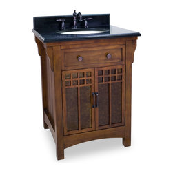 "Hardware Resources - Lyn Design Bathroom Vanity - Westcott Wright Vanity with Mica Glass with Preassembled Top & Bowl by Lyn Design. This 28"" wide solid wood vanity is inspired by Frank Lloyd Wright designs from the Arts & Crafts era. The rich chestnut finish is complemented by the amber-colored mica glass inserts in the cabinet doors. The narrow design fits easily into most spaces and a large cabinet provides ample storage. This vanity has a 2.5 cm black granite top preassembled with an H8810 (17"" x 14"") bowl, cut for 8"" faucet spread, and corresponding 2 cm x 4"" tall backsplash. Vanity: 28"" x 23-1/2"" x 35-1/4"" (with top), Style: Traditional, Finish: Chestnut, Materials: Birch solids and veneers, Top: 2.5 cm black granite with 2 cm x 4"" tall backsplash, Bowl: H8810W, Coordinating Mirror: MIR037, Faucet must be purchased separately."