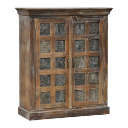 Kosas Collections - Creighton Brown 2-door Print Block Cabinet - A beautiful,fresh clean look on the Creighton 2-door Print Block Cabinet creates the perfect blend for any home whether modern or traditional. This two-door cabinet delights with graceful lines and an adjustable shelf design.