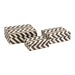 iMax - iMax Zig Zag Bone Inlay Boxes - Set of 3 X-3-11991 - A set of three small decorative boxes made with bone inlay make the perfect desk, shelf or vanity accessory. White bone inlay with brown chevron pattern gives these boxes a simple decorative appeal. For a coordinated look, display with the Zig Zag bone inlay photo frames.