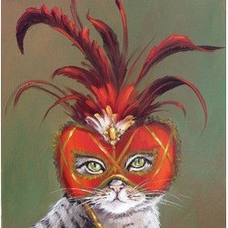 Gray Tabby Cat With Red Mardi Gras Mask (Original) by Viktoria Majestic - This lady with her beautiful eyes are hiding behind an elegant Mardi Gras mask.