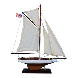 "Handcrafted Model Ships - Columbia 16"" - Wooden Sailboat Centerpiece - Not a model ship kit"