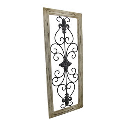 Zeckos - Distressed Wooden Tan Frame Wrought Iron Fleur de Lis Wall Decor 30 In. x 12 In. - This antique distressed fleur de lis wall decor speaks of a long glorious life on the Champs-Elysees. Now, this beautiful piece of black wrought iron art can be displayed in your own home. A single metal wall hanger on the reverse of the distressed tan wooden frame allows it to hang vertically from a single nail or wall hook. The wall hanger may be easily unscrewed and repositioned to hang horizontally. The remarkable frame measures 30 inches tall, 12 inches wide, and 1 inch deep. This classic piece is an excellent cultural home accent with neutral colors that would look decidedly elegant in any setting.