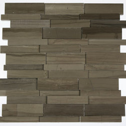 "GlassTileStore - Illusion 3d Brick Athens Gray Pattern - ILLUSION 3D BRICK ATHENS GRAY MARBLE PATTERN MOSAIC TILE  This distinctive pattern is made of various sized pices of marble in Athens Gray. The 3D brick pattern gives a unique and elegant design to your room. This modern and contemporary tile can be used as a feature wall, backsplash, fireplace, or kitchen.      Chip Size: 5/8"" x 4"", 3/4"" x 4"", 1 1/2"" x 4""   Color: Athens Gray   Material: Marble   Finish: Polish   Sold by the Sheet - each sheet measures 12"" x 12""  (1 sq. ft.)    - Glass Tile -"