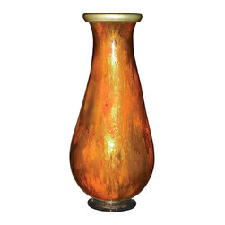 """Couleur - Feather Gold Glass Vase - Handcrafted by artisan glass blowers the Feather Gold Glass Vase is a wonderfully decorative and functional art glass accessory.  Because this is made of hand blown glass measurements are approximate - Each item will vary slightly in size and color.Specifications Dimensions: Are approximate because of the handmade nature of this product. (length x width x height) Overall: L 8"""" x W 8"""" x H 18"""" (approximately)Made in: Mexico (MEX)  Style: Room: Living Room, Dining Room, OfficeUse: Decoration Only - Home Accent, Table Top Decor, Wall Decor, Shelf DecorIndoor / Outdoor: IndoorCare: Wipe clean with a soft damp cloth."""