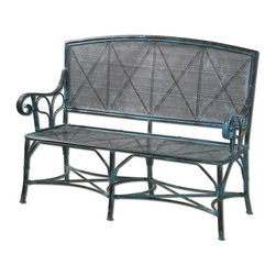 "Uttermost - Uttermost 26126  Generosa Forged Iron Bench - Sturdy, forged iron bench in turquoise crackle with oxidized black undertones. seat height is 17""."