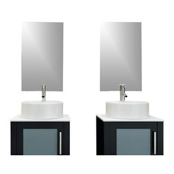 JWH Imports - Set of 2 Modern Trimless Bathroom Mirrors - Add this Trimless Bathroom Mirror in Espresso to complete the look of your modern bathroom vanity! Its versatile design looks great with any modern bath furniture vanities, regardless of its style.