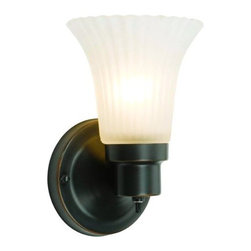 "Design House - Design House 505115 Village 1-Light Wall Sconce - Design House 505115 Village 1-Light Wall SconceUses 1-60W bulb (not included)Mount the light facing up or downWall mount, Back plate: 4.5"" DiameterOil Rubbed Bronze Finish with frosted flute glassUL listed for damp locations insure the highest qualityNeed more information on this product? Click here to ask."