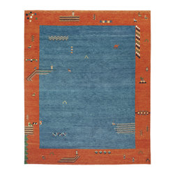 Indo Gabbeh Carpet - An 8x10 Gabbeh style carpet hand knotted in India. 100% wool with natural dyes. Vibrant colors and a playful design with tribal elements throughout form this fantastic one of a kind original piece.