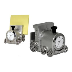 Kito - Die Cast Metal Train Analog Clock and Business Card Holder/Paperweight - This gorgeous Die Cast Metal Train Analog Clock and Business Card Holder/Paperweight has the finest details and highest quality you will find anywhere! Die Cast Metal Train Analog Clock and Business Card Holder/Paperweight is truly remarkable.