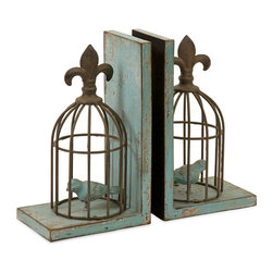 iMax - Birdcage Bookends, Set of 2 - Finished in robin's egg blue, the Birdcage bookends are topped with fleur-de-lis embellishments and look great on any shelf.