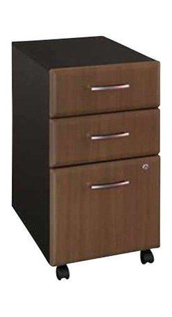 Bush - Bush Series A Three-Drawer File in Sienna Walnut/Bronze-Assembled - Bush - Filing Cabinets - WC25553SU -  This three drawer file pedestal will give any office the storage space it needs. It is mobile on dual wheel casters so it can easily roll under desks when not in use. The file pedestal also features two box drawers for small office supplies and a lockable letter/legal sized file drawer. It is finished in Sienna Walnut with Bronze vertical supports and comes ready to assemble.Features: