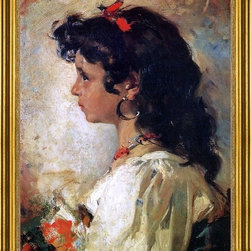 """Joaquin Sorolla Y Bastida-18""""x24"""" Framed Canvas - 18"""" x 24"""" Joaquin Sorolla Y Bastida Head of an Italian Girl framed premium canvas print reproduced to meet museum quality standards. Our museum quality canvas prints are produced using high-precision print technology for a more accurate reproduction printed on high quality canvas with fade-resistant, archival inks. Our progressive business model allows us to offer works of art to you at the best wholesale pricing, significantly less than art gallery prices, affordable to all. This artwork is hand stretched onto wooden stretcher bars, then mounted into our 3"""" wide gold finish frame with black panel by one of our expert framers. Our framed canvas print comes with hardware, ready to hang on your wall.  We present a comprehensive collection of exceptional canvas art reproductions by Joaquin Sorolla Y Bastida."""