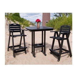 Polywood - Nautical 3-Piece Bar Set - Includes square bar height table and 2 bar armchairs