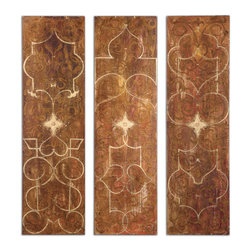 Uttermost - Scrolled Hand Painted Panels Set of 3 - Frameless hand painted panels on hard board with outer edges painted black. Due to the handcrafted nature of this artwork, each piece may have subtle differences.