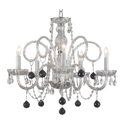 Gallery - Gallery T40-126 5 Light 1 Tier Crystal Candle Style Chandelier - Features: