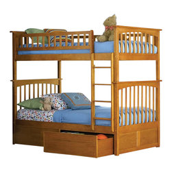 Atlantic Furniture - Atlantic Furniture Columbia Twin over Twin Bunk Bed in Caramel Latte - Atlantic Furniture - Bunk Beds - AB55107 -  The Atlantic Furniture Columbia Twin over Twin Bunk Bed has a clean modern look with subtle Mission styling. The simple lines of the head and foot boards have the square posts and slats characteristic of this design. This versatile bunk bed is available in a number of options that is sure to please both you and your child. Features: