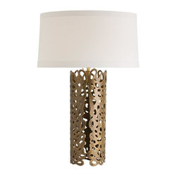 Arteriors - Arteriors Hedda Lamp - Material: IronFinish: Antique BrassSocket Type: Type A - E26Bulb Type: A19 IncandescentThis laser cut iron sheet is finished in antique brass then hand shaped into a cylinder. The lace-like pattern has beautifully cut edges which we like to place in the front. But there is no right or wrong way, so choose the angle you prefer. Note the top edge has the same elegant detail. The low, flat, off-white drum shade is made of 100% linen with matching cotton lining and 1†flat trim.