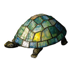 Meyda Tiffany - Meyda Tiffany Lamps Table Lamp in Muliple Color - Shown in picture: Turtle Tiffany Glass Accent Lamp; A Land Turtle Is Transformed Into A Charming Accent Lamp Featuring A Mottled Blue Green Stained Glass Shade Resting On A Cast Metal Base.