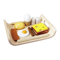 Plan Toys Large Scale Breakfast Menu Set - While you sizzle sausages, over-easy the eggs, and flip pancakes, you can let your little one in on the fun with their own breakfast menu set. Constructed of eco-friendly rubberwood, this large array of food is worthy of any king. Real or pretend.