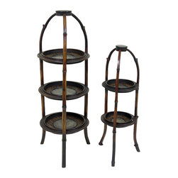 AA Importing - 3-Shelf & Two-Shelf Plant Stands in Wood w Ra - Reminiscent of a trip to a warm, sultry climate, this fabulous set of two size plant stands will bring a tropical feeling to any space.  Beautiful crafted from wood with a rattan pattern, each stand features multiple shelves to hold live or silk plants.  Whether you use them as a complementary pair or completely separate, you will totally enjoy these unique decorative pieces in your home. Set of 2. 3-Tier. Wood with rattan pattern. Set includes small and large stand. Small: 32 in. H with a 10 in. Dia. / 8 in. between each shelf. Large: 40 in. H with a 14 in. Dia.. Large Stand: 1st shelf to 2nd self there is a distance of 7 3/4 in. / 2nd shelf to the bottom shelf there is a distance of 6 in.