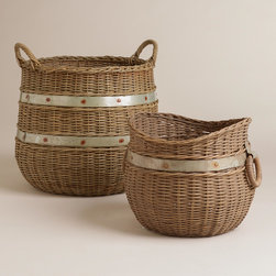 Calley Rattan and Metal Basket - Want only a hint of metal? These baskets trimmed in metal bands are just the thing.