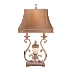 Ambience - Ambience AM 10950 Victorian Style Table Lamp with 3-Way Switch, Finished in Anti - Ambience AM 10950 Victorian Style Table Lamp with 3-Way Switch, Finished in Antique Gold and WhiteAmbience AM 10950 Features: