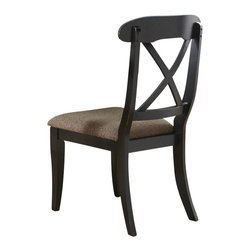 Liberty Furniture - Liberty Furniture Abbey Court Traditional X Back Side Chair in Black, Sand (Set - Elegantly styled and casually proportioned, Abbey Court works in a dining room as well as a kitchen dining combination. Black and cherry is a versatile finish for the home and is a nice accent to other wood tones throughout the house. Tables feature canted corners and heavy turned legs. Fancy face cheery veneers accent the table top. Two chair options feature napoleon styling with an x back and a saber leg or a splat back and a turned leg. Both chair seats are upholstered in sand chenille. The buffet features two top drawers, a center shelf with wine bottle storage and glass stemware holders flanked by two wooden doors for concealed storage. The sliding glass door hutch has x grid onlays as well as a bead board back panel with wood framed glass shelves. Touch lighting features a center can light. What's included: Side Chair (can only be purchased in sets of 2).
