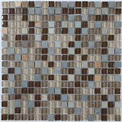 """Euro Glass - Titanium Filed 5/8"""" x 5/8"""" Brown Backsplash Glossy and Unpolished Glass & Slate - Customize your hardest working surfaces with our Slate series. Choose from many patterns and an array of colors in honed and cleft finishes."""