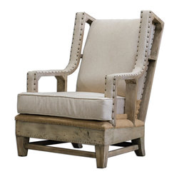 """Uttermost - Schafer Linen Armchair - The essence of bench-made quality is tastefully exposed in this solid hardwood, neatly tailored chair in soft, neutral linen. Individually hammered brass nails accent the track arms, while traditional upholsterer's tacks can be seen edging the tan burlap deck against an aged white frame. Seat height is 20"""". Matching ottoman is #23616."""