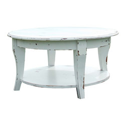 Fable Porch Furniture - Parker Coffee Table, Ivory-Classic, 48 X 48 X 18 - Distressed Round Coffee Table