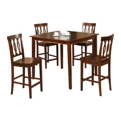 William's Imports - 5 Pc Square Counter Height Table Set - Includes table and four chairs. Solid wood legs. Scooping on chair seats. 3X design on chair back. Made from rubberwood veneer. Espresso finish. Table: 42 in. L x 42 in. W x 36 in. H. Total Set Weight: 147 lbs.