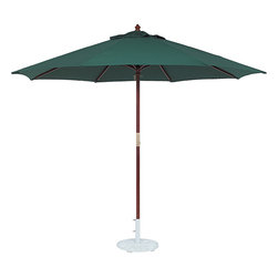 Tropishade - TropiShade 11-foot Wood Green Market Umbrella - Ideal for the patio,garden,or poolside area,this 11-foot market umbrella casts cool,comfortable shade. Made with weather-resistant olefin fabric,it features a pulley,brass trim and an eight-rib design.