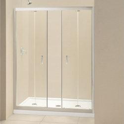 """DreamLine - DreamLine DL-6210C-01CL Butterfly Shower Door & Base - DreamLine Butterfly Frameless Bi-Fold Shower Door and SlimLine 32"""" by 60"""" Single Threshold Shower Base Center Drain"""