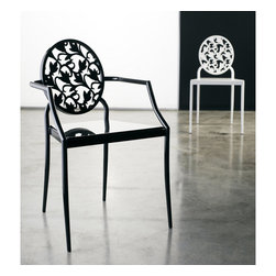MODLOFT - MODLOFT Vale Dining Chair with Arms - Chair back is laser cut in metal with lacquer wood seat. Measures 19 x 23 x 33. Available in multiple colors. Made in Brazil. Imported.