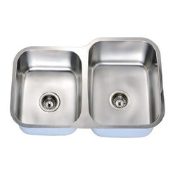 Dawn - Dawn Sinks Economy Double Bowl Stainless Steel Sink 31-9/16 inch W x 9-7/16 inch - Ideal for food preparation and cleaning cookware, dinnerware, kitchenware or tableware, the Economy Series Stainless Steel Undermount Double Bowl Sink by Dawn Sinks improves the appearance of wood or stone counter tops by emphasizing the appearance. Offers an upscale look that is always popular and desirable, the Economy double sink features a one-piece construction made of 18-gauge, 304 Series 18/10 chrome-nickel stainless steel, and polished to a Satin finish for a subtle look that enhances most surroundings