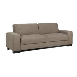 DHI - Halo Convertible Sofa - The Halo's low profile design provides roomy seating in a classic modern form. With a low, comfortable profile plus great options, Halo provides creative solutions for challenging spaces. This convertible sofa will allow you to transform your living room or office into a guest bedroom for overnight guests. Comfortable Pocketed Coil Seating, Rich Espresso legs with your choice of a heavy woven upholstery grade fabric or sleek Faux Leather the halo allows you to customize your decor. Features: -Contemporary style.-Woven upholstery or faux leather.-Pocketed coil seating.-Seat and back cushion attached.-Kiln dried hardwood frame construction.-Espresso finish.-Halo collection.-Distressed: No.Dimensions: -Seat height: 18''.-Overall Product Weight: 119 lbs.Warranty: -Manufacturer provides one year warranty.