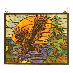 Meyda - 20 Inch W 16 Inch H Eagle at Sunset Windows - Color theme: Purple/blue amber orange Lt blue pbag green